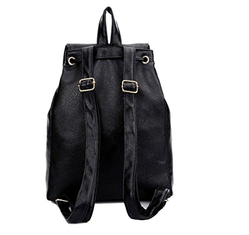 QPALZM Fashion Girls College Wind Freizeit PU-Leder-Spielraum-Rucksack Ms Klassische Taschen 28 21 Touristikindustrie Unzen (oz) Black