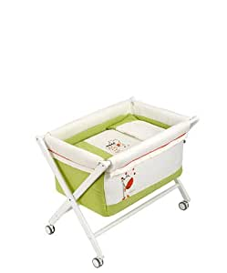 Naf Naf Mini-Cot with Crib-style Stand and Textiles (Jungle, Pistachio)