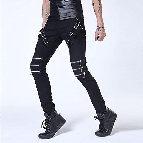 ZYQYJGF Hip-Hop Pantalones Casuales Multi-Wearing Patchwork Pantalón Danza Jogger Sweatpants Ripeado Flaco Cremallera Jeans Aberturas De Los Hombres Rectas . Black . 28