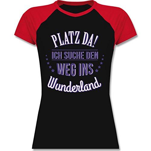 Shirtracer Sprüche - Platz Da - Ich Such Den Weg ins Wunderland - Zweifarbiges Baseballshirt/Raglan T-Shirt für Damen Schwarz/Rot