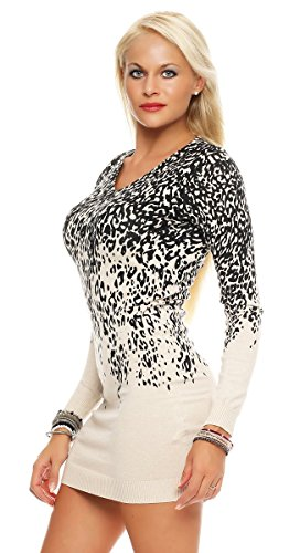 Fashion4Young - Robe - Taille empire - Femme bleu Schwarz XS=36 Ivoire