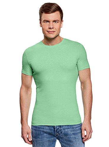 oodji Ultra Herren Baumwoll-T-Shirt Basic (3er-Pack), Mehrfarbig, L
