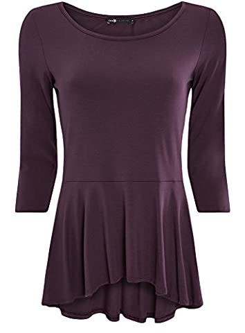 oodji Collection Women's 3/4 Sleeve Peplum T-Shirt, Purple, UK 14