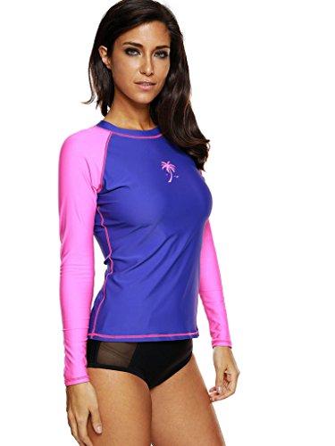 Attraco Damen Bademode UV-Schutz Langarm Shirt Rash Guard Oberteil UPF 50+ Violett-Rosa