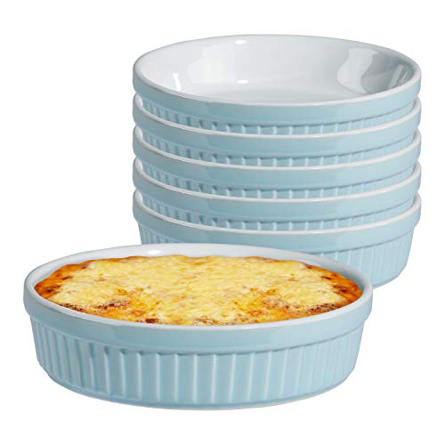 MamboCat 6er Set Tartelettes-Förmchen Lissi 150 ml Ø 12cm Mini-Aufbackform Auflauf-Form Keramik-Schälchen Pastellblau Porzellan-Geschirr Küchen-Zubehör