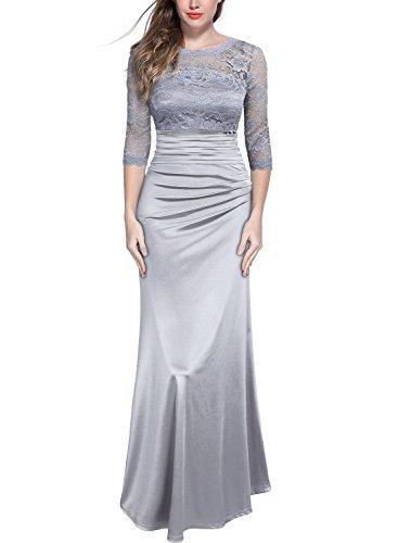 b7d33793d9a1 MIUSOL Vintage 1950s Pizzo Coctel Vestito Donna Lungo Grigio Medium