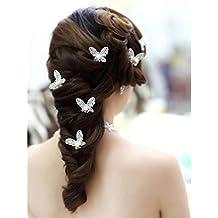 HuntGold 1X pelo mariposa del Rhinestone para Mujer en el partido o la boda (plata)