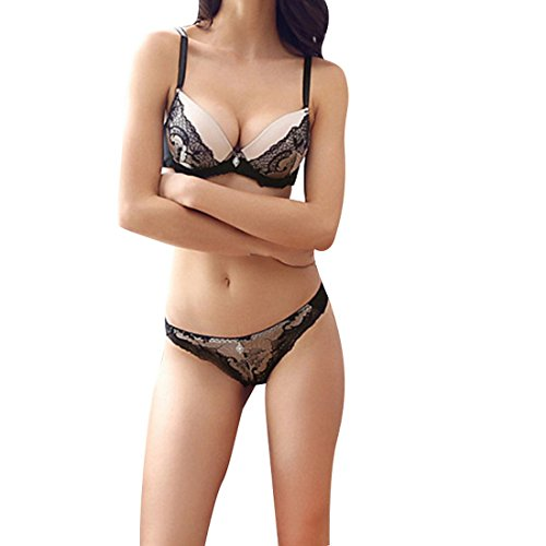 #Vertvie Damen BH Set Spitze V Push Up Bügel BH Bra und Slip Dessous Sets Unterwäsche Lingerie Set (75B, Beige)#