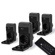 MANAX® Outdoor Set prese radiocomandate (4+ 1) per ambienti esterni (Outdoor) | 4x interruttore Wireless a prese Set | 1x telecomando | protezione | elevata portata radio salva-bimbo di circa 30m | a norma IP44per esterni | Nero