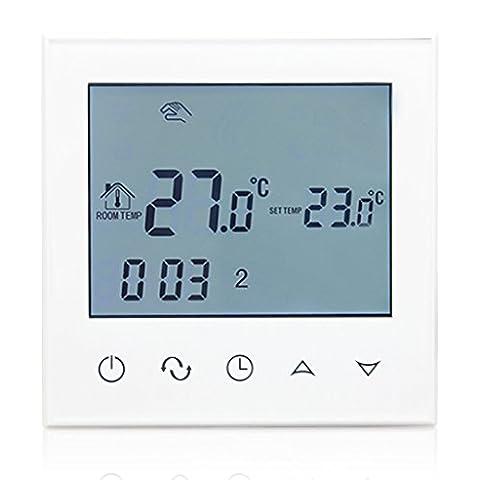 Beok TDS21-EP Programmierbare Elektrische Fußbodenheizung Thermostat Smart Digital Raum Temperatur Controller mit Glas Touch Bildschirm, 230V 16A, Weißem Rahmen-Weiße
