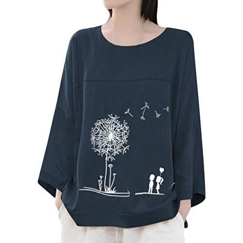 TEFIIR Frauen Sweatshirt Lose Pullover Kurzarm Baumwolle+Leinen Oansatz Druck Bluse Beiläufig Tops T-Shirt Geeignet für Freizeit, Urlaub und Dating