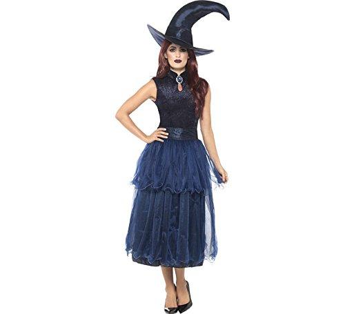 Smiffys Damen Mitternacht Hexen Kostüm, Kleid, Linsenförmige 3D Brosche und Hut, Größe: 36-38, - Hexe Kostüm Einfach