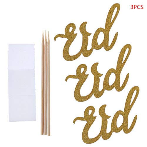 kuangkk 3 Stück Eid Cake Topper Hochzeit Baby Shower Geburtstag Party Ramadan Decor Cupcake Picks Muslim Islam Backen