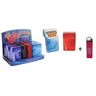 24 x Zigarettenetui Kunststoff Zigaretten Etui Zigarettenbox Box Zigarettenschachtel + 1 Feuerzeug