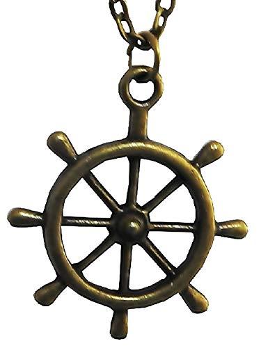 Lovelegis Halskette für Männer und Frauen - Karma-Rad - Buddhismus - 7-Arm-Ruder - Bronzefarbe
