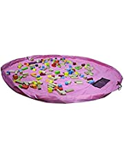 Okayji Toy Storage - Portable Children Play Mat Cum Toy Storage Bags Toys Organizer Blanket Kids Children Infant Baby Toy Buggy Bag - Great for Storing Small and Medium Size Toy, Pink