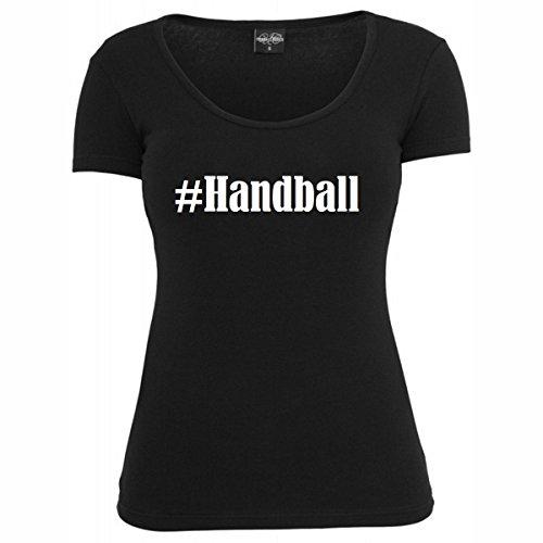 T-Shirt #Handball Hashtag Raute für Damen Herren und Kinder ... in der Farbe Schwarz Schwarz