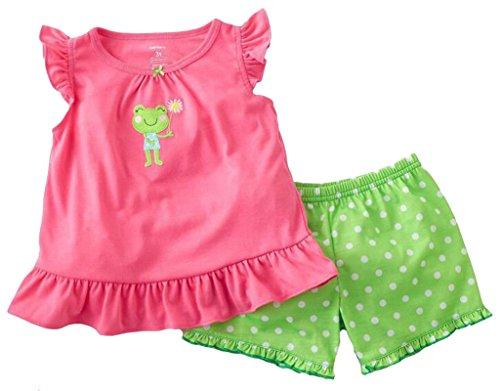 """Babygp dos conjuntos de pijama de """"rana"""" para los niñas de algodón 100% (2-10 años,Pantalones de traje de manga corta) (2T( años), rosa)"""