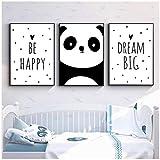 Bébé Pépinière Mur Art Toile Peinture Animal Panda Soyez Heureux Affiche et Imprime Nordic Enfants Décoration Photo Chambre Décor-40x50cmx3Pcs-Pas de cadre