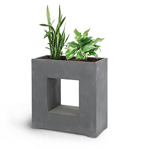 Blumfeldt airflor • vaso per piante • fioriera • posizionamento libero • nessun foro per drenaggio dell'acqua • corpo in vetroresina • per interni / esterni • effetto cemento • 70 x 70 x 27 cm (lxaxp) • grigio scuro