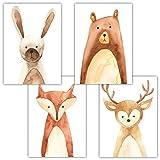 Frechdax® 4er Set Kinderzimmer Poster Babyzimmer Bilder DIN A4 | Kinder Poster Junge Mädchen | Dekoration Kinderzimmer | Waldtiere Safari Skandinavisch (4er Set Bär, Hase, REH, Fuchs)