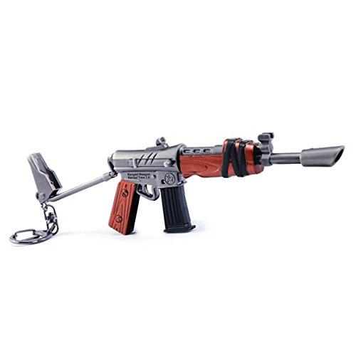 Llavero de metal para juegos de 1/6 de metal, diseño de rifle UZI