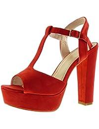 Angkorly - Zapatillas de Moda Sandalias correa Peep-Toe zapatillas de plataforma mujer Hebilla Talón Tacón ancho alto 13 CM - Rojo