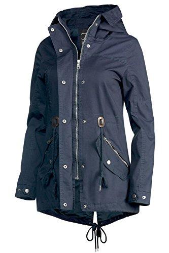 Trisens Damen Jacke ÜBERGANGSJACKE Trenchcoat Kapuze 100% Baumwolle LEICHT KURZ, Farbe:Dunkelblau, Größe:S - 3