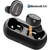 QCY Écouteur Bluetooth, Casque Bluetooth 5.0 Sans Fil Antibruit Oreillettes Intra Auriculaire Magnétique 16H de Lecture, Son Stéréo 3D, Micro Intégré, Etanche IPX4 avec Boîte de Charge pour Sport