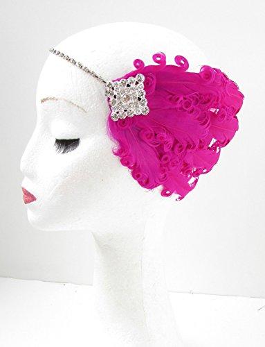 Hot Pink Feather Haarband Kopfbedeckung 1920er FLAPPER Silber Fancy Kleid 30S Y36Stil der (Hot Flapper Kleid Pink)