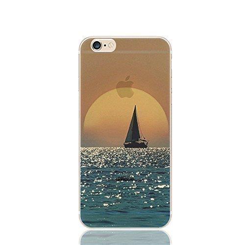 FINOO Custodia cellulare Trasparente Hardcase Paesaggi 4 - Paesaggio Invernale, iPhone 5/5S Barca