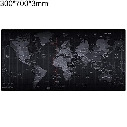 obiqngwi für den elektronischen Wettkampfsport, Große Weltkarte Gedruckt 3mm Gummibasis Anti-Rutsch-Tastatur Mauspad Tischset - 300mm x 700mm x 3mm - Maus Wireless Logitech M310