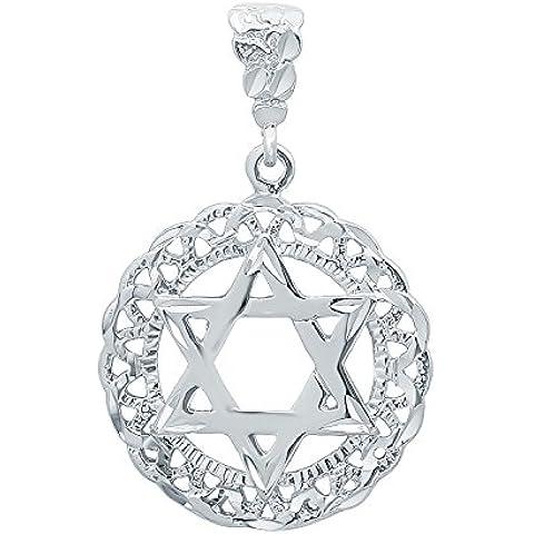 Rhodium placcato lucido ebraica Stella di David