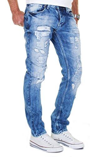 MERISH Herren Jeans Straight Fit Vintage Look Gepatcht Modell J2007 Blau