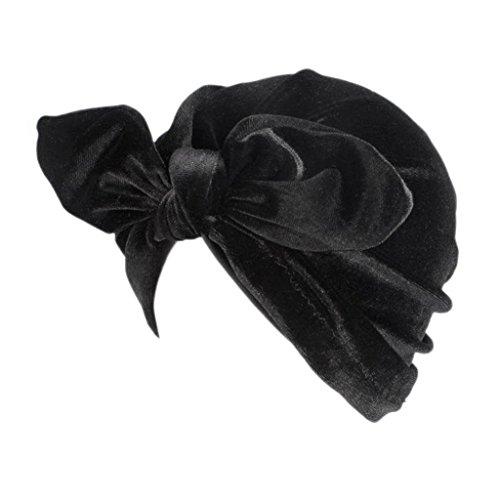 YOFO Damen Turban-Hut mit Hasenohren, Schleife, SAMT, Turban-Knoten, Mehrfarbig, Schwarz (Machen Sie Es Sich Indischen Kostüm)