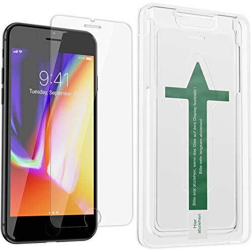 XeloTech Premium Schutzglas mit Schablone kompatibel mit iPhone 8 Plus / 7 Plus für hohe Passgenauigkeit - Schutzglas Folie Unterstützt 3D Touch - Schutzfolie kompatibel mit Hülle und Case