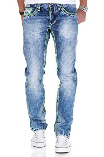 Merish Jeans Herren Straight Fit Kontrastnaht Dicke Naht Neon Neu Denim J9575 Blau-Grün 31-32