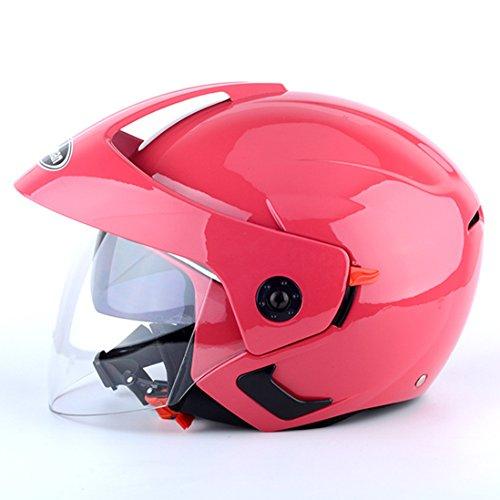 Lidauto Motorrad helme Fahrer Stilvolle Shorty Doppelobjektiv Sommer für Männer Frauen,Pink