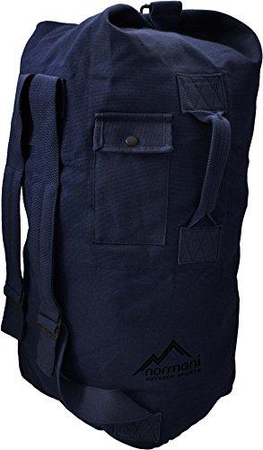 Seesack aus reißfestem Canvas-Material mit Doppelgurt und Metallverschluss - 100 % Baumwolle Farbe Marine Größe 30 Liter (Marine-blau-gurt)