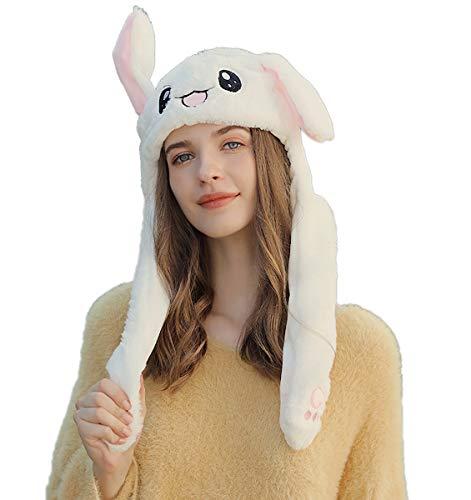 Bunny Mütze Kaninchen Ohren Hut Kneifen Spielzeug Airbag Beweglich Hutes Plüsch Geschenk für Frauen und Kinder (Weiß mit LED)