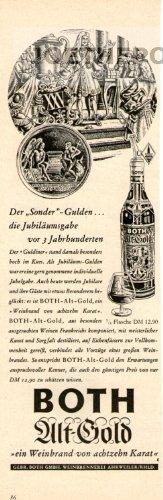 50er Jahre - Anzeige / Inserat : BOTH ALT-GOLD WEINBRAND / SONDER-GULDEN - Format 210x70 mm - alte...