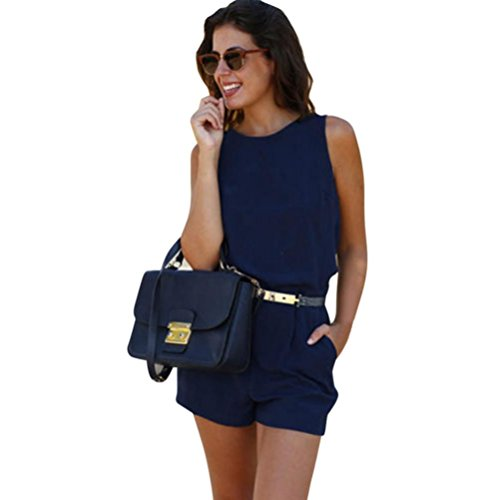 Jumpsuit Sannysis Damen Mini Spielanzug Sommer Strand Overall (S, Blau)