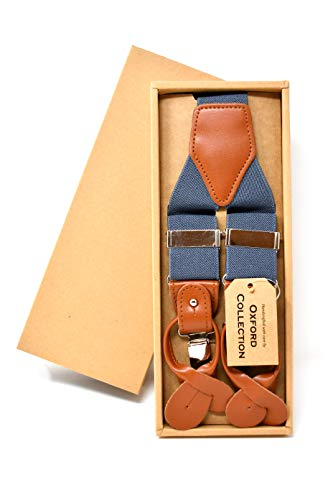Oxford Collection Hochwertige Graue Hosenträger Einstellbar - 3 Clips oder 6 Knöpfen (anpassbare) - Y Form - Klassisch, Elegant und Modern -