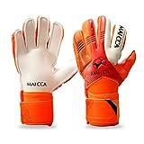 Haploon Torwarthandschuhe für Jugendliche, Profi-Torwarthandschuhe, Fußballtraining, Torwarthandschuhe, sichere Handschuhe mit Fingerschutz, Tragetasche im Lieferumfang enthalten, orange, 6#