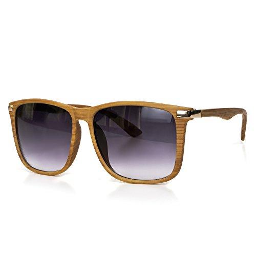 Sonnenbrille Holz Herren oder Damen Unisex Motorradbrille Retro Verspiegelt UV400 CAT 3 CE-Norm gold silber schwarz blau von EYES ON ME, Farbe:Braun Schwarz Getönt