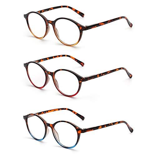 JM 3 Pack Vintage Runden Lesebrille Federscharnier Gläser für Leser Damen Herren +6.0 Mischfarbe -