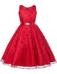 3bf06d21dc Qiusa - Vestido de Encaje con diseño de Flores y Cuello en V para Dama de
