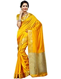 Mimosa Women's Tassar Silk Saree With Blouse Piece (2086-Gold,Gold,Free Size)