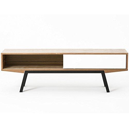Meuble TV design scandinave ARTAT frêne et blanc 160 cm