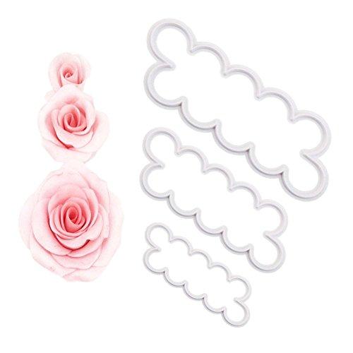 Den Ganzen Cutter Kuchen (Diawell 3er Rose Cutter Fondant Blumen Ausstecher Kuchenform Kuchen Form Backen Tortendeko Modellierwerkzeug)